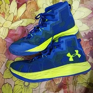 Under Armour Neon Sneakers Sz 5.5Y Blue Yellow